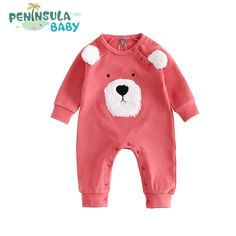 New Brand Cotton Cute Baby Boys Clothing For Autumn Children Cartoon Bear Design Kids Rompers Girls Jumpsuit Baby Product #Affiliate