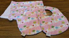 Adorable Pink Jungle Animals on Parade Infant Bib & Burp Cloth Set - 2 bibs, 1 burp cloth by Sew Appealing