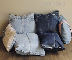 Oi, rakas farkku - lattiatyynyt pojalle! Floor cushions from old jeans. Recycling upcycling sewing. Kierrätys ompelu. DIY