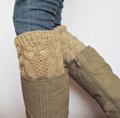 Owl ALPACA  Hand Knitted Boot Cuffs Leg Warmers 2in1 by nastiadi, $45.00