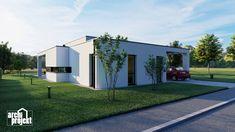 Projekt moderného 4-izbového rodinného domu s názvom Bravo. Súčasťou domu je komfortná obývacia izba spojená s kuchyňou , spálňa, dve detské izby, samostatné WC, kúpeľňa, sklad potravín, šatník, hospodárska miestnosť a letná terasa. Zaujimavosťou domu je zvýšená svetlá výška obývacieho priestoru, ktorá zabezpečuje optimálne presvetlenie dennej časti domu. Garage Doors, Outdoor Decor, Home Decor, Decoration Home, Room Decor, Home Interior Design, Carriage Doors, Home Decoration, Interior Design