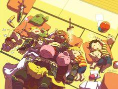 Ganondorf babysitting the smash bros crew. Olimar Ness Lucas Jigglypuff Kirby Pikachu Toon Link Zelda