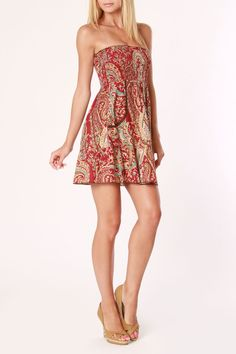 red pattern strapless summer dress :) so cute