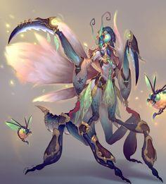 work~mantis by Yuer69 - Yuer Xu - CGHUB via PinCG.com Fantasy Monster, Anime Fantasy, Fantasy Art, Creature Concept Art, Creature Design, Monster Characters, Fantasy Characters, Fantasy Illustration, Character Illustration