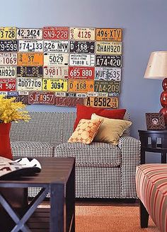 wall collage, wall art, rec rooms, boy rooms, license plate art, licens plate, plate wall, man caves, car room