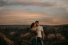 Canyon Sunset Engagement Shoot. Bailey and Jacob's day honestly felt that effortless, and goes to show when you have such an incredible location, keeping everything else pared back and classic is just right. Photographer: Brit Nicole Photography