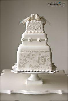 Vintage Lovebirds & Lace Wedding Cake by ConsumedbyCake, via Flickr