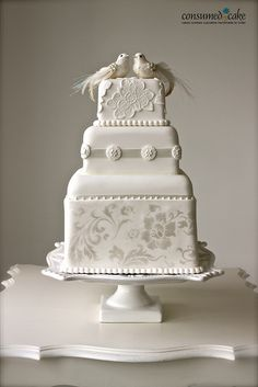 Winter Wedding Cake - Vintage Lovebirds & Lace Wedding Cake by ConsumedbyCake