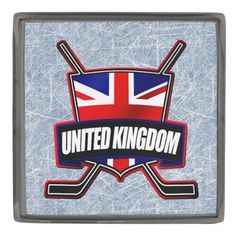 British Flag Ice Hockey Shield Lapel Pin Badge. Custom made stylish lapel pin, available in gunmetal, silver plated and gold plated finishes. The design is covered with a high shine resin dome. #HockeyPins