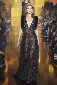 Elie Saab's golden romance for Fall 2015 Couture. [Photo: Giovanni Giannoni]