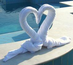Swan folded towel #heart