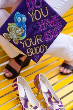 My LSU tiger shoes and Finding Nemo inspired graduation cap!