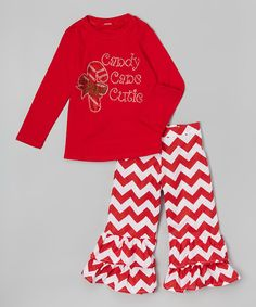 Red Candy Cane Tee & Chevron Ruffle Pants - Toddler & Girls by Beary Basics #zulily #zulilyfinds