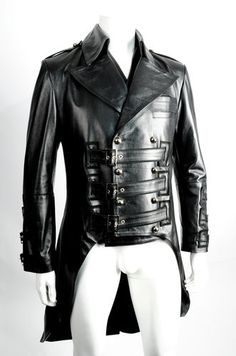 Gorgeous! IMPERO LONDON mens black leather military steampunk Victorian coat