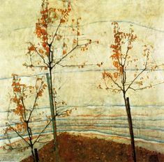"""""""Les arbres d automne"""", huile sur toile de Egon Schiele (1890-1918, Austria)"""