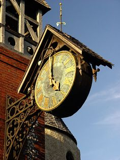 A town clock in the charming old High Street of this Sussex county town