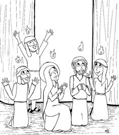 Pentecost lesson for kids, including a link to a coloring