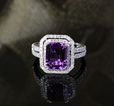 VVS Dark Purple Amethyst and Diamonds Real White Gold Engagement Ring Purple Rings, Purple Jewelry, Amethyst Jewelry, Purple Wedding Rings, Wedding Bands, Do It Yourself Jewelry, Purple Amethyst, Beautiful Rings, White Gold