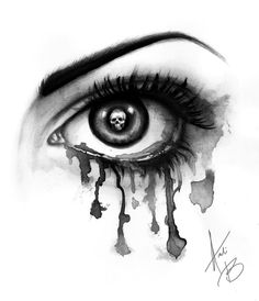 Drawing of an eye with skull