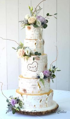 Towering White Birch Wedding Cake by Elisabeth Palatiello