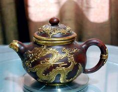 A Fine Zi Sha Teapot Featuring  Dragon Dancing on Clouds  http://emperorsantique.blogspot.my