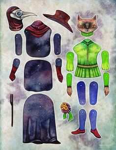 doctor & mouser paper doll by imaginerie on Etsy, $6.00