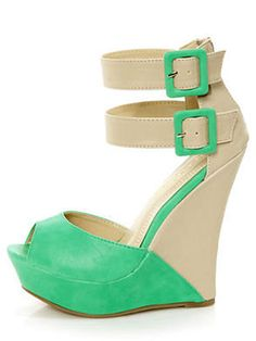 If You Want Legs for Days: Monaco 3 Sea Green and Beige Belted Color Block Wedges, $39; wanelo.com #summer #wedges