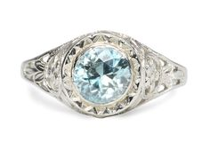 Darling Art Deco Blue Zircon Ring - The Three Graces
