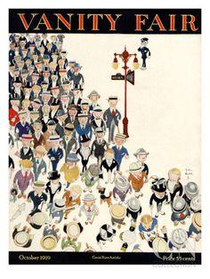 size: Premium Giclee Print: Vanity Fair Cover - October 1919 Art Print by John Held, Jr. Vanity Fair Magazine, Art Deco Vanity, Vincent Van Gogh, Find Art, Framed Artwork, Giclee Print, Vintage World Maps, Art Prints, Magazine Covers