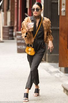Street chic: Vanessa Hudgens was boho babe meets city girl as she stepped out in New York ...