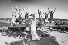 """Have all the bridesmaids jump - especially when the bride is wearing 3"""" heels."""