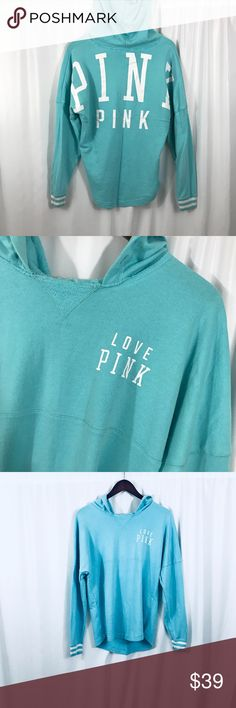 "Victoria's Secret PINK Logo hoodie sweatshirt Victoria's Secret PINK aqua logo spell out hoodie Size medium excellent condition, no drawstring- this model does not come with one bust: 44"" length from shoulder to hem: 24.5"" PINK Victoria's Secret Tops Sweatshirts & Hoodies"