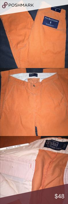 """New Men's Polo/Ralph Lauren """"Prospect Pant"""" You are looking at a NWT pair of Men's Polo """"Prospect Pant"""" in Orange (yepp ORANGE!! Haha)...size 33/30, and these are flat front, also are a corduroy/cotton material. You can see from the pictures that they have the iconic Polo rider in Navy on the back pocket. These are a great pair of dress pants or casual everyday pants worn year round! These are also very bright and should be worn by someone who knows how to rock BRIGHT! 😎If you have any…"""