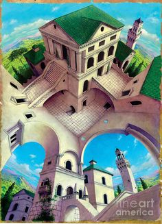 Tuscany II Digital Art by Irvine Peacock Cool Optical Illusions, Art Optical, Illusion Paintings, Illusion Art, 3d Street Art, Illusion Pictures, 3d Art Drawing, Mc Escher, Contemporary Artwork