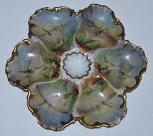 Antique Hand Painted Limoges Oyster Plate w  Scenes of Sailboats
