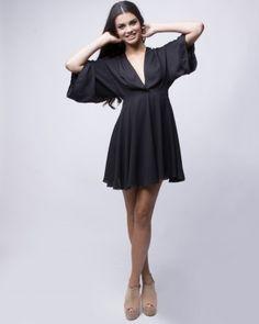 LOVE BLACK KIMONO DRESS