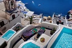 Perched on Caldera cliff, in the heart of Fira Town, Aperto Suites - Adults Only offers minimally decorated suites with hot tub or spa bath, and views over. Santorini, Algarve, Portugal Travel, Beautiful Places, Amazing Places, The Good Place, Travel Destinations, Road Trip, Places To Visit