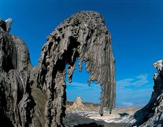 "Ol Doinyo Lengai, ""Mountain of God"" in the Maasai language, is an active volcano located in the Gregory Rift, south of Lake Natron in Tanzania. It's carbonate lavas are very viscous and here a fragile lava falls fountain solidified in the air in a short time"