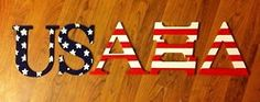 painted wood letters, but with AOE instead. Merica!