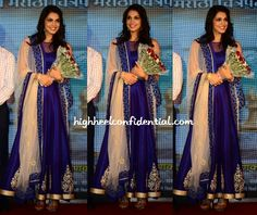 At the music launch of Maat, Isha opted for a cobalt blue SVA. She looked good.