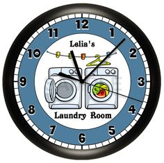 Personalized Laundry Room Washing Machine Wall Clock by cabgodfrey