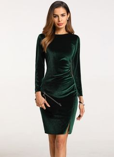 Solid Long Sleeve Knee-Length Bodycon Dress – Best Of Likes Share Prom Dresses With Sleeves, Satin Dresses, Nice Dresses, Women's Fashion Dresses, Dress Outfits, Dress Skirt, Bodycon Dress, Green Velvet Dress, Affordable Dresses