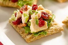 Picture perfect Festive Cranberry-Chicken Toppers take common ingredients and create unexpected flavors. Serve with TRISCUIT Crackers.