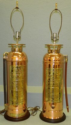 """2 polished copper and brass fire extinguisher lamps. 38"""" tall with harp. - Sold $200"""