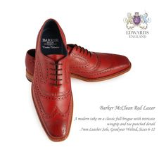 Barker McClean Red Lazer Barker  PRODUCT DETAILS   A modern take on a classic full brogue with intricate wingtip and toe punched detail. 7mm Leather Sole, Goodyear Welted, Sizes 6-12 STYLE NUMBERS   382966F - Black Calf / Plum Suede 382936F - Brown Calf / Snuff Suede 382926F - Cedar Calf / Blue Suede 382976F - Cedar Calf / Burgundy Suede 382986F - Cedar Calf / Paisley Laser 382946F - Rosewood Calf