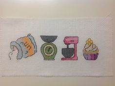 #cross stitch #little towel                            Flour-Kitchen scale-Mixer-Cupcake :)