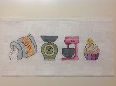 #cross stitch #little towel Flour-Kitchen scale-Mixer-Cupcake :)
