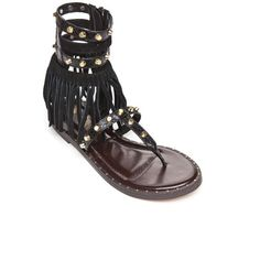 Mari A. Black Snake Pixie Fringe Stud Gladiator Sandal - Women's ($59) ❤ liked on Polyvore featuring shoes, sandals, black snake, snake sandals, roman gladiator sandals, greek gladiator sandals, gladiator shoes and greek sandals