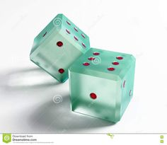 glass Dice | The glass dice over the white background.