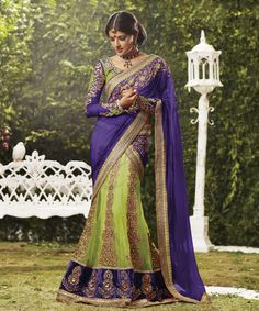 Beautiful Green and Violet Faux Georgette and Net Lehenga Saree